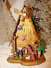 VINTAGE PLASTIC CHRISTMAS NATIVITY TALL 6 1 2 RARE 2 ANGELS PLUS WHOLE MANGER
