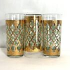 Culver MCM Green and Gold 22K Valencia Tall Glasses Set of 3