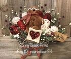 Primitive Handmade Spring Valentine Gingerbread Hearts Love Note Decoration
