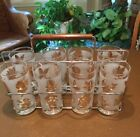 Mid Century Frosted Gold Leaf Glasses Carrying Rack Fall Foliage Set 8 Vintage