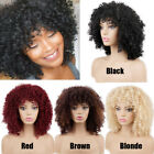 Short Afro Kinky Curly Synthetic Hair Wigs with Bangs Cosplay Fashion Women Wigs