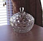 Vintage Indiana Whitehall Cube Clear Glass Covered Candy Dish