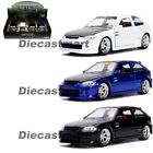 Jada 124 JDM Tuners 1997 Honda Civic Type R Black Blue White Diecast Model Car