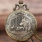 Cool Bronze Wolf in Forest Design Quartz Pocket Watch with Necklace Chain Gifts