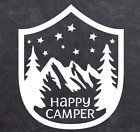 Happy Camper Decal Camping Sticker Vinyl for Jeep Car RV Truck Laptop