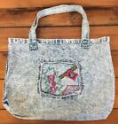 Vintage 90s 80s Bijoux WOW Torn Out Denim Jeans Stonewashed Tote Bag Hobo Purse