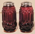 Vintage L E Smith Ruby Red Amberina Salt and Pepper Shakers Moon