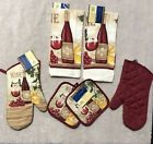 6 Piece Set Of Wine Theme 2 Oven Mitts 2 Pot Holders And 2 Kitchen Towels