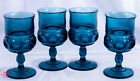 4 Cobalt Blue Glass Water Goblets by Tiara Exclusives Kings Crown Thumbprint
