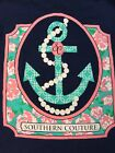Southern Couture Navy With Anchor And Pearls Size Small Long Sleeve