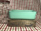 VINTAGE ANCHOR HOCKING GREEN FIRED ON RIBBED REFRIGERATOR DISH