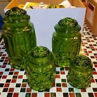 Set of 4 VTG Lot ~ LE Smith Green Glass ~ Moon and Stars Canisters Jar with Lids