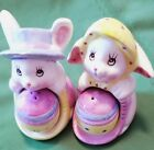 Fun 3 Ceramic Easter Bunny and Egg Salt  Pepper Shakers Set