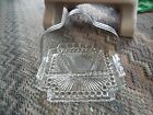 Vintage clear bubble glass square  relish tray with metal carrying handle