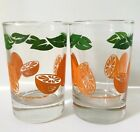 2 Anchor Hocking Orange Juice Glasses Vintage 1987 Orange Fruit Green Leaves