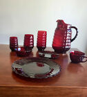 VINTAGE BUBBLE RUBY SET by Anchor Hocking