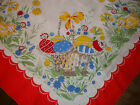 German Easter 1950s Cotton Table Cloth TableclothChick Bunny Eggs Basket Flowers