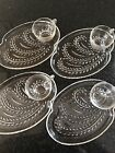 Vintage Homestead Federal Glass Dining Snack Set 8 Pc 4 Cups 4 Dishes Glassware