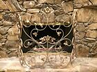 CLASSIC ANTIQUE VINTAGE GOLD FRENCH FIREPLACE TRIFOLD FIRESCREEN FLOWERS VINES