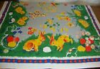 German Easter 1950s Cotton Table Cloth Tablecloth Chick Bunny Eggs Basket Flower