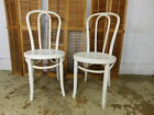 Pair Antique VTG Thonet Poland Bentwood Incised Seats Painted Dining Side Chairs