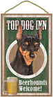 Top Dog Inn Beerhounds Miniature Pinscher Bar Sign Plaque dog pet 10x16 Beer