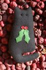 Primitive Christmas Black Cat with Holly Applique Ornie, Ornament