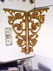 2 gilt Cast Iron Decorative Corner or Shelf Brackets, Grape Pattern 15
