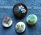 4 Antique Vtg MOP Buttons - Hand Painted Flowers - Pearl Shell - Old Lot