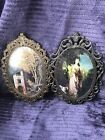 2 Vintage Italy Antique Brass Metal Oval Picture Frames- Bubble Glass- Victorian