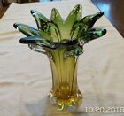 Vintage Art Glass Vase Murano Italy Amber and Green Stretched Rim Home Decor