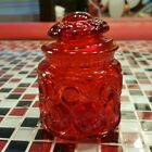 VTG 5 Inch ~ L.E. Smith ~ Ruby Red Moon and Stars Glass Canister Apothecary Jar