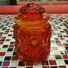 VTG 7 inch ~ L.E. Smith Red Orange Moon and Stars Glass Canister Apothecary Jar