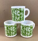 Vintage Lot of 3 Milk Glass Coffee Mugs Cups Green Bamboo Pattern 8 Oz