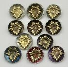 Antique Vintage Buttons~ Brass Leaf on Pewter Base~ Some Tints; Mixed Lot of 11