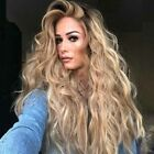 Womens Curly Long Wig Hair Wavy Blonde Natural Synthetic Full Wigs Costume