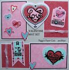 Premade Scrapbook Pages Mat Set Paper Piecing Sewn Valentine Love Hearts pack890
