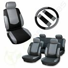 For 2008 2009 2010-2018 Nissan Rogue Black Gray Seat Covers Wheadrest Covers