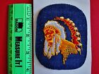 Old Embroidered Native American Indian Chief Iron On Patch w Blue Denim Ground