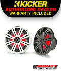 Kicker 45KM84L 8 Full Range Marine Boat Speakers Pair with RGB LED Lighting