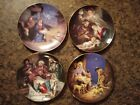 Bradford  WS George Plate Lot 4 Nativity Angels Message Gifts Jesus Shepherds