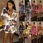 Women Floral Satin Silk Long Sleeve Ladies Long Tops Blouse Short Mini Dresses