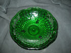 Vintage Dark Green Anchor Hocking Hobnail Glass footed Bowl