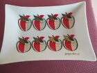 VTG GEORGES BRIARD BENT GLASS DISH, MID CENTURY, STRAWBERRY MOTIF, SIGNED, 8 X 6