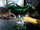 9 Pedestal BOWL Free Form Art Glass Murano Italian Sommerso Emerald Green Pool