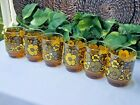 6 Rare Anchor Hocking Gift Collection Limited Release Amber Glass Rocks Tumblers