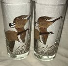 LOT of 2 VTG Libbey Tumbler Replacement Flying Geese Goose Duck Drinking Glass V