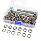 100 Eyelets Grommets w Ring Die Punch Leather Craft Tools Silver Gunmetal Black
