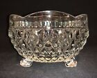 VINTAGE INDIAN GLASS DIAMOND POINT CLEAR 3 FOOTED CANDY DISH SCALLOPED RIM