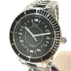 AUTHENTIC DIOR Date Crystal Men's Wristwatch Silver/Black SS CD115510